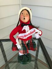 Byers Choice Caroler Christmas 1995 Girl in Red with Merry Christmas Banner-Mint