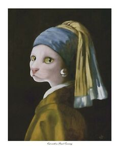 Cat with a Pearl Earring, Open Edition Print, Vic Bearcroft, Cats, Cat
