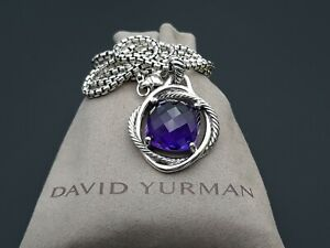 David Yurman Infinity 17mm Amethyst Pendant Necklace 17 in Sterling Silver 925