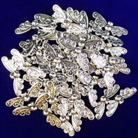 12Pcs Newest Carved Tibetan silver Butterfly Pendant Bead 22x6x3mm