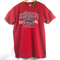 Ecko Unltd Mens L Red Graphic T-Shirt Rhino Logo Print Tee Spell Out Size Large