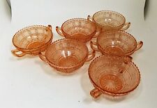 Set of 6 Imperial Beaded Block Pink Depression Glass Jelly / Ice Cream Bowls
