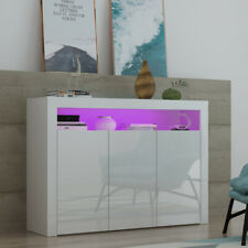 Modern High Gloss 3 Doors TV Unit Cabinet Sideboard Cupboard Matt Body with LED