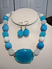 Blue Turquoise And White Faceted Gkass Bead Chocker Necklace Earring Set