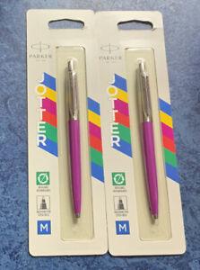 Parker Jotter Ballpoint Pen Medium Tip Pink Barrel Blue Ink 2075996 X 2