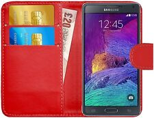 Premium Luxury Leather Flip Wallet Book Case Cover for Samsung Galaxy Note 4 Red
