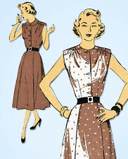 1950s Vintage New York Sewing Pattern 1057 Misses Shirtwaist Sun Dress Size 32 B