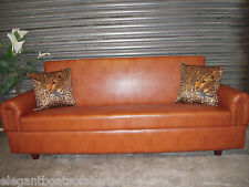 TAN BROWN SOFA BED 3 - 4 SEATS STORAGE 204cm CLICK CLACK - ASSEMBLED SOFA BED BN