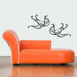 Wall Vinyl Sticker Decals Mural Design Mural Art 2 Flying Birds Decoration #868