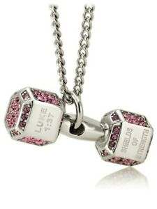 Women's Stainless Steel Mini Dumbbell Necklace w/Pink Swarovski Crystals-Lk 1:37