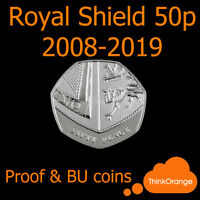 *ROYAL SHIELD 50p Fifty Pence coins 2008-2019 PROOF & BU ONLY - select year*