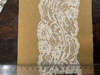 Vintage White Floral Lace Trim On Bridal Tulle W Scallop Edge 80 Mm