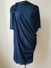 Lanvin  Beautiful Midnight  Blue Drape  Dress Size 40
