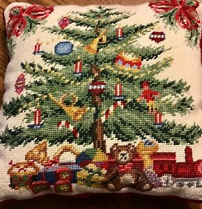 """Christmas Pillow Needlepoint Decorated Tree Presents Throw Couch Velvet Back 14"""""""