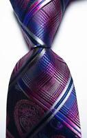 New Classic Checks Blue Purple Grey JACQUARD WOVEN 100% Silk Men's Tie Necktie