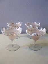 (4) HAND PAINTED MARGARITA GLASSES -- PINK & WHITE FLOWERS / ROSES -- SET OF 4