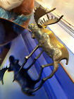 Vintage Moose Deer Sculpture Bronze Brass Cabin Figurine :