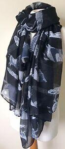 BNWT Black War Horse Print Equine 180x100cm Large Scarf Shawl Headscarf Sarong