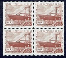 CHILE 1971 AIR MAIL STAMP # 788 MNH BLOCK OF FOUR SHIP