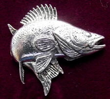 Quality Zander Course Fishing Pewter Pin Brooch