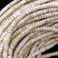 "4mm white turquoise heishi beads 16"" strand"