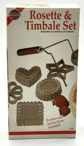 Never Been Used Rosette Cookie & Timbale Pastry Set 6 Molds New wood handle 3286