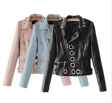 Women girl pu leather slim jacket punk locomotive lapel outwear hollow jacket