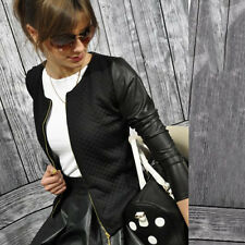 Women Slim Fit Cropped Leather Sleeve Coat Blazer Jacket OL Business Casual Suit