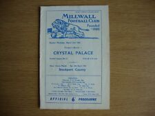 1960/1 Millwall v Crystal Palace - League Division 4 - Good Condition