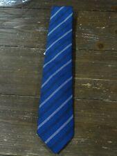 NWT Isaia Blue Stripe Textured Silk 7 Fold Tie $225 Italy