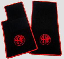 Black velours floor mats for Alfa Romeo 105 Junior Zagato 1969-1975 red