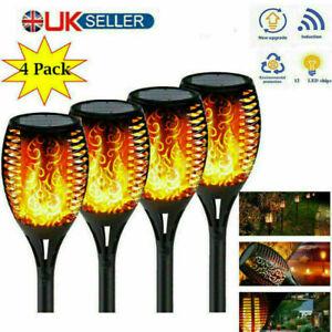 4 X Solar Garden Flame Light Flickering LED Torch Lamp Waterproof Landscape lamp