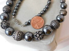 Old Tibetan Hand Crafted Sterling Silver Bead Graduated Hematite Necklace 10k 59