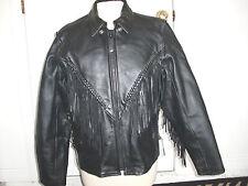 """LEATHER CLUB""Motorcycle Zip up Black Leather Fringe Thinsulate  Jacket size L"