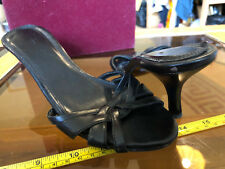 Black Slip On Short High Heels Open Toe Size UK 5 Bad Condition Used