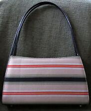 Vintage Canvas Kelly Style Hand Bag Khaki Fabric Bag with Stripes