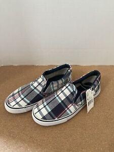 Joe Boxer Youth Boy's Remix Blue/Red White Plaid Sneaker Slip-On Shoes Sz 2