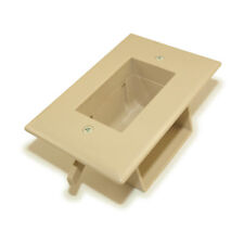 Wall plate: Recessed Low Voltage Cable Pass-Thru w/Easy Mount  Ivory