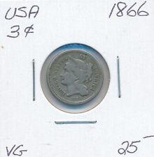 USA 3 CENTS 1866 - VG