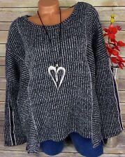 Designer Pullover Pulli Kurzpullover Damen Shirt Tunika Grau Glitzer 48 50