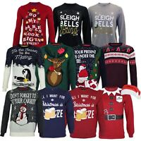 Mens Novelty Christmas Reindeer Funny Santa Snowman Xmas Crew Jumper Sweater Elf