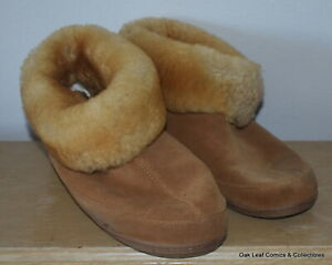 S 10M Brown Suede Bootie Slippers Vermont Country Store USED!