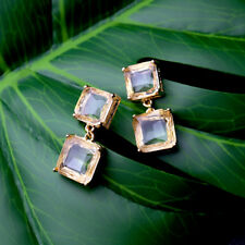 Rings`Ears CLIP ON Golden Two Square Crystal Retro Antique Marriage B6