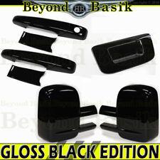 07-13 Sierra Silverado Reg/Ext GLOSS BLACK Door Handle Covers+MirrorT+TailgateN
