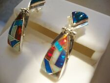 RED Black iridescent GLOWING FIRE OPAL Drop Dangle Sterling Silver 925 Earrings