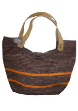 "TRANSAT BOUTIQUE SAC ""ATELIER DU CROCHET"" RAFIA CHOCO & ORANGE - FAIT MAIN-PROMO"
