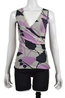 Sweet Pea Womens Top Size M Gray Purple Printed Blouse Nylon Sleeveless Shirt