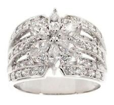 EPIPHANY STERLING SILVER 1.35CT DIAMONIQUE MIXED CUT FLOWER RING SIZE 6 QVC