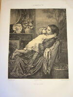 Félix BRACQUEMOND 1833-1914 RARE LITHO LE BAISER FEMME ENFANT TOULMOUCHE 1857