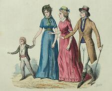 Costume Francais Mode Chapeaux et Bonnets - Gravure originale XIXème